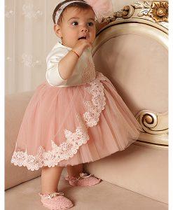 Compleu Margueritte pentru botez, 4 piese, cu trena, maneca lunga, roz (0-3-3-6 luni)-3