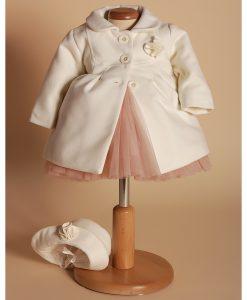 Paltonas fetite Isabelle, alb-ivoire (0-3-3-6 luni)-3