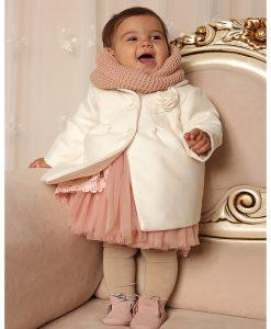Paltonas fetite Isabelle, alb-ivoire (0-3-3-6 luni)-4