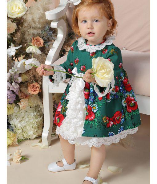 Compleu elegant victorian, EVA, cu dantela si flori (0-3-3-6-6-9 luni)-1