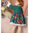 Compleu elegant victorian, EVA, cu dantela si flori (0-3-3-6-6-9 luni)-3