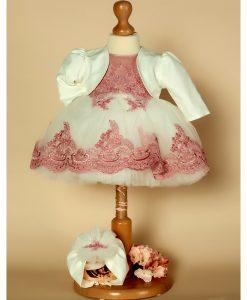 Rochita dantelata de botez, Milla, cu turban si bolero incluse, set roz-vintage (0-3-3-6 luni)-3