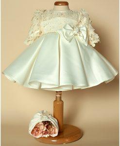 Rochita de botez Minola cu fundita, turban si bolero incluse, set alb-ivoire (0-3-3-6-6-9 luni)-2