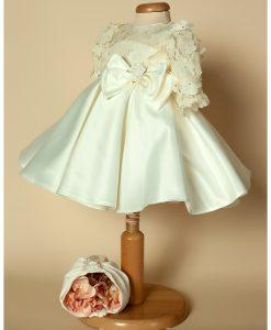 Rochita de botez Minola cu fundita, turban si bolero incluse, set alb-ivoire (0-3-3-6-6-9 luni)-3