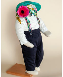 Costumas elegant Vlad, costumas botez, set 5 piese, turcoaz ( 0-3-3-6 luni)-2