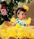 Rochita de botez cu extra fodre, Alice, maneca scurta, galben (0-3-3-6- 9-12 luni)-1