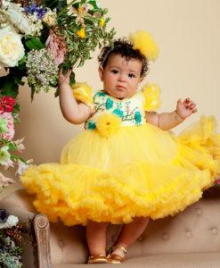 Rochita de botez cu extra fodre, Alice, maneca scurta, galben (0-3-3-6- 9-12 luni)-2