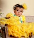 Rochita de botez cu extra fodre, Alice, maneca scurta, galben (0-3-3-6- 9-12 luni)-3