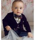 Costum Ralph de ocazie, cu papion si camasa cu fodre, mov (0-3-3-6-9-12 luni)-02