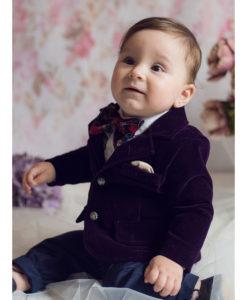 Costum Ralph de ocazie, cu papion si camasa cu fodre, mov (0-3-3-6-9-12 luni)-03