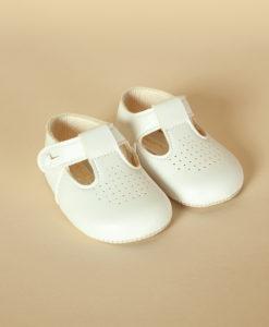 Pantofiori unisex bebe din piele ecologicacu gaurele, albi, Baypods UK (16-17-18)-3