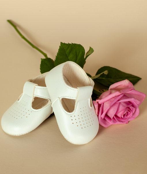 Pantofiori unisex bebe din piele ecologicacu gaurele, albi, Baypods UK (16-17-18)-5