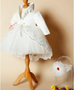 Compleu Margueritte pentru botez cu maneca scurta, 4 piese, cu trena, alb-ivoire (0-3-3-6 luni)-01