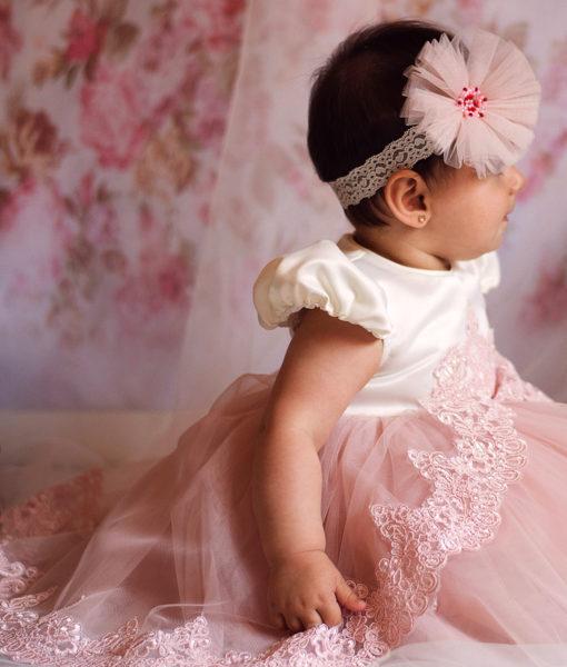 Compleu Margueritte pentru botez cu maneca scurta, 4 piese, cu trena, roz (0-3-3-6 luni)-01