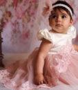 Compleu Margueritte pentru botez cu maneca scurta, 4 piese, cu trena, roz (0-3-3-6 luni)-02