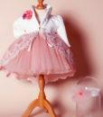 Compleu Margueritte pentru botez cu maneca scurta, 4 piese, cu trena, roz (0-3-3-6 luni)-03