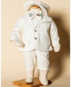 Costumas Jules de vara, pantaloni scurti din in, ivoire-gri (0-3-3-6-6-9 luni)-02