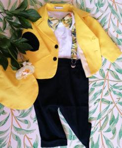 Costumas elegant Elias, costumas botez, set 5 piese, galben-mustar ( 0-3-3-6 luni)-03