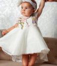 Rochita de botez Yokko cu maneca scurta, dantela si trena clos, alb-ivoire (0-3-3-6 luni)-06