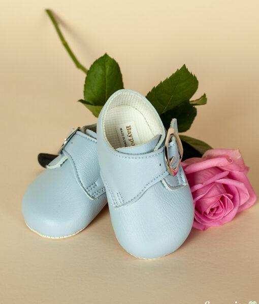 Pantofiori bebe Strumf, bleu cu catarama, piele ecologica, Baypods UK (16-17-18)-01