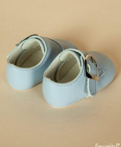 Pantofiori bebe Strumf, bleu cu catarama, piele ecologica, Baypods UK (16-17-18)-02