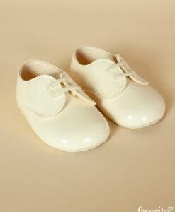 Pantofiori bebe cu sireturi, piele ecologica lacuita, alb-ivoire, Baypods UK (16-17-18)-04